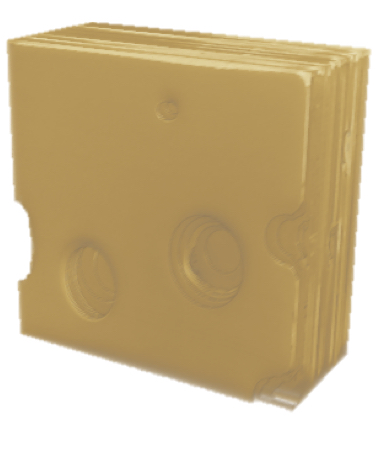 3D Reconstruction of a block of Swiss cheese.