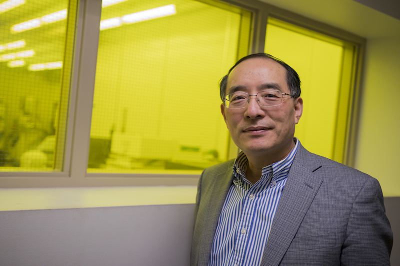 Portrait of Yong-Hang Zhang. Caption: Professor Yong-Hang Zhang is chair of NanoFab's faculty governance board. The nanotechnology research and development facility has seen increases in the numbers of researchers and revenues from industry partners in the past few years. Photographer: Marco-Alexis Chaira/ASU