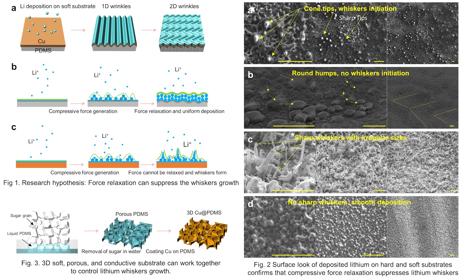 Graphic that shows dendrite mitigation for lithium batteries. Caption: