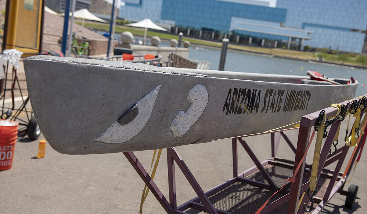 Photo of a concrete canoe out of the water. Caption: Building watercraft out of concrete tests students' abilities in several fundamental civil engineering, design and construction skills. Photographer: Marco-Alexis Chaira/ASU