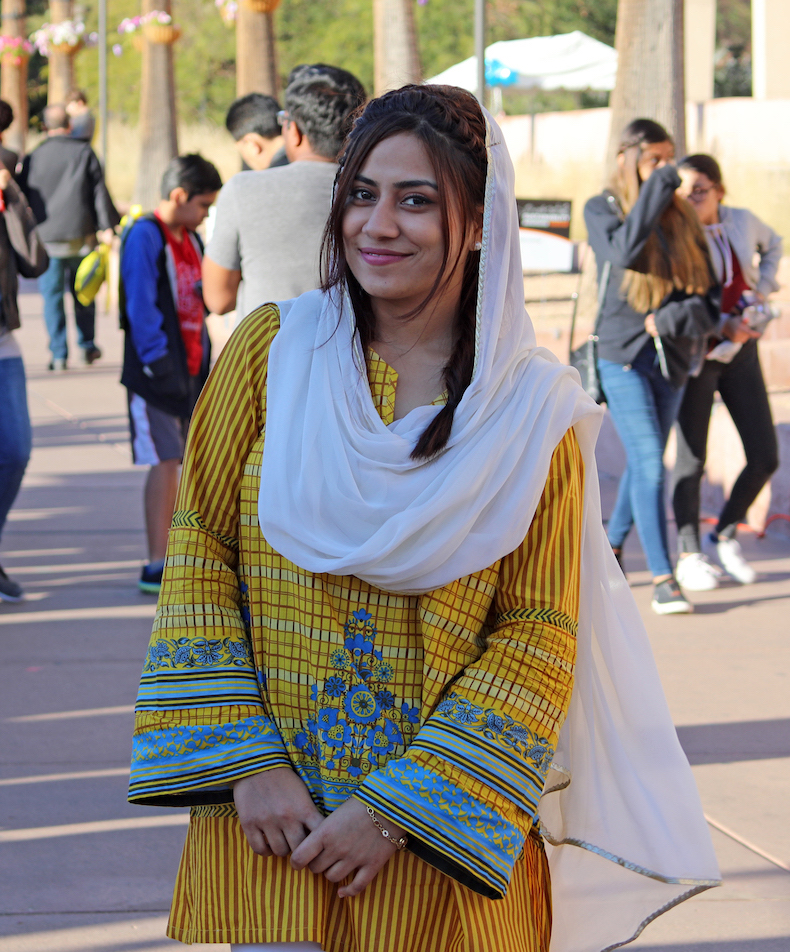 Photo of a woman standing in middle of walkway. Caption: Maria Kanwal, an exchange student from Pakistan's National University of Science and Technology (NUST), was part of USPCASE's fifth cohort in spring 2018. Photo courtesy of USPCASE