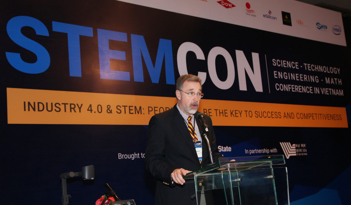 Matthew Salmon, former Arizona Senate representative and vice president of government affairs at Arizona State University, gives the opening remarks at STEMCON.