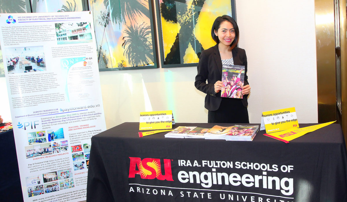 ASU Vietnam International Admissions Representative, Huyen Nguyen hosted the recruitment booth for ASU at STEMCON.