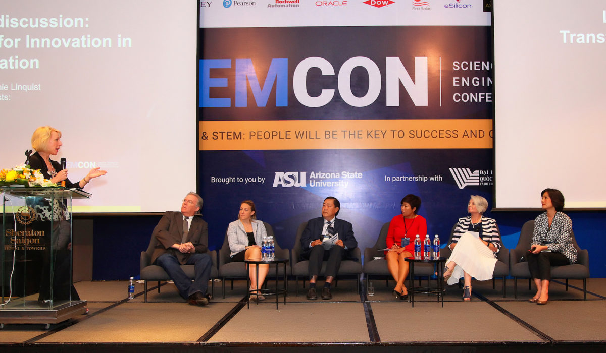 "Stefanie Lindquist (first on left), deputy provost and vice president for academic affairs at ASU, leads the panel discussion, ""Transformative Models for Innovation in Higher Education."" From left to right: Jack Harding, president & CEO of eSilicon; Debbie Hughes, vice president of higher education and workforce with the Business-Higher Education Forum; Ha Thanh Toan, president of Can Tho University; Do Thi Lan Dai, chairwoman of Lac Hong University; Gael McDonald, president of RMIT University Vietnam; and Keiko Inoue, program leader for human development, World Bank Vietnam."