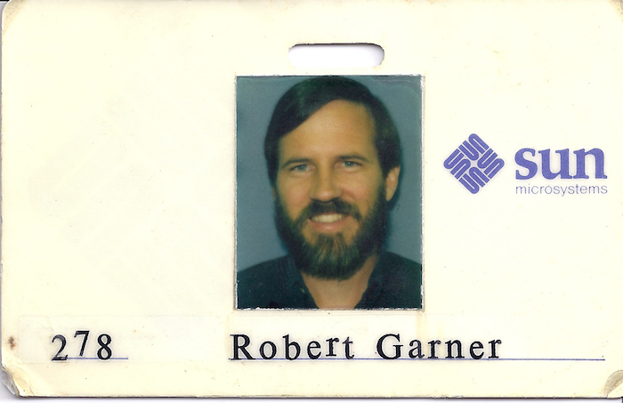 image of Robert Garner's 1984 work badge from Sun Microsystems