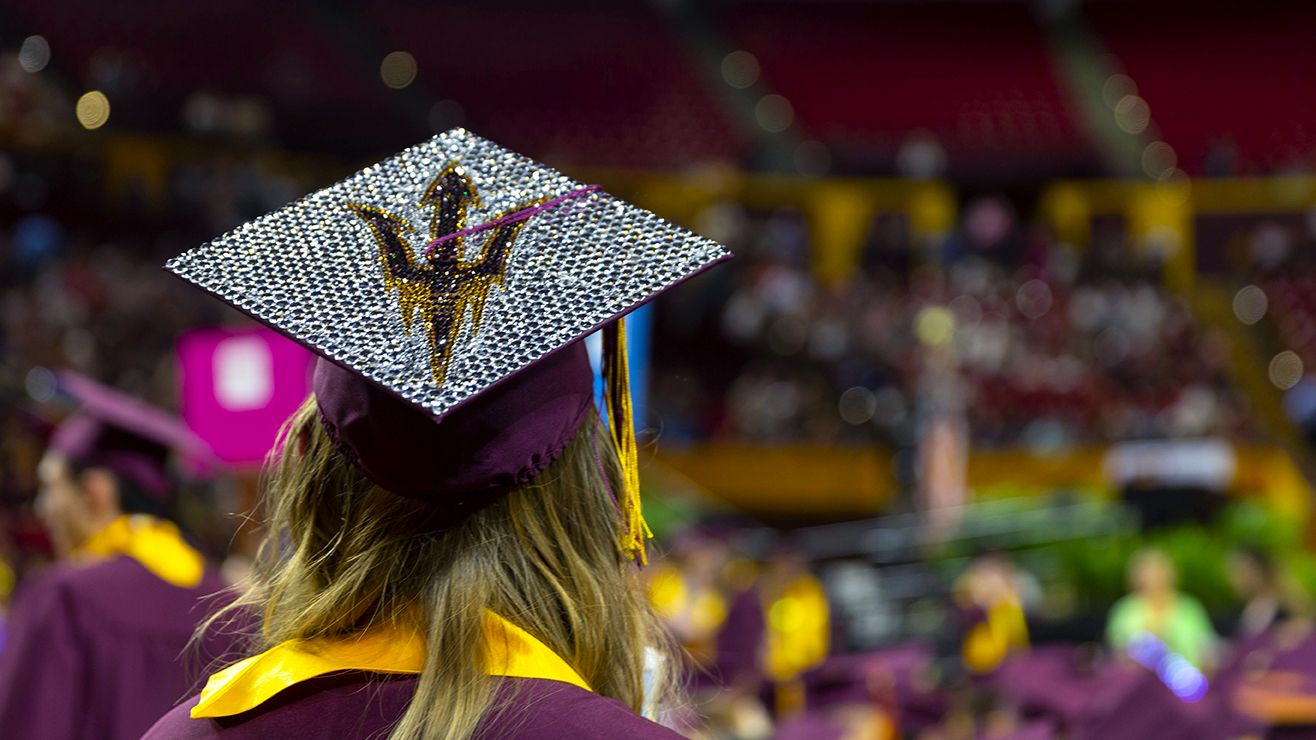 image of a graduation mortarboard with a pitchfork on it