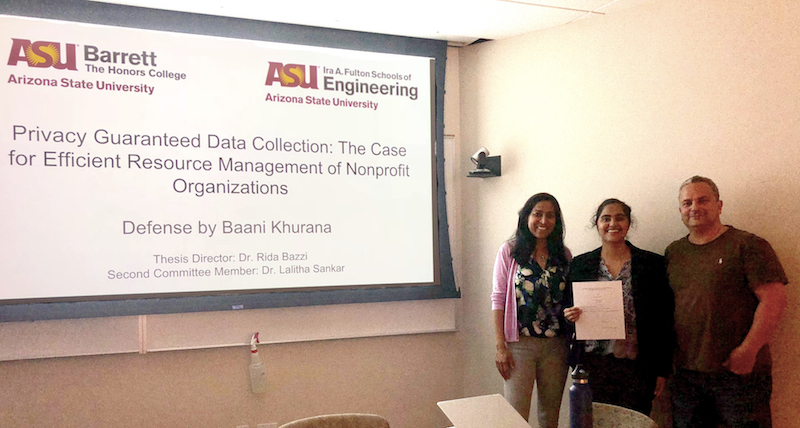 Lalitha Sankar and Baani Khurana at Khurana's honors thesis defense.
