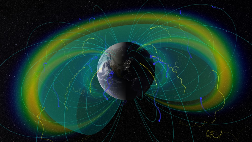 image of Earth with illustrations of protons and electrons