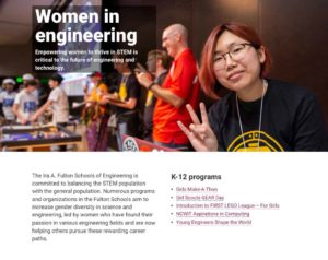 Screenshot of the Fulton Schools' Women in Engineering page