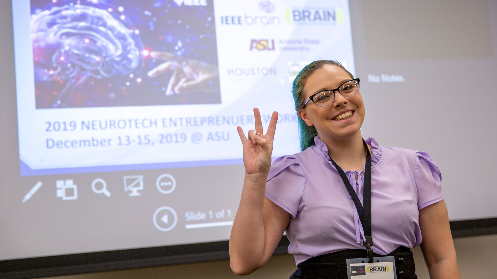 Kassondra Hickey poses at the IEEE Brain 2019 Neurotech Entrepreneurs Workshop.