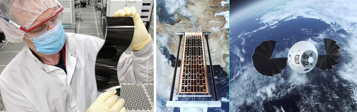 three photos of solar panels