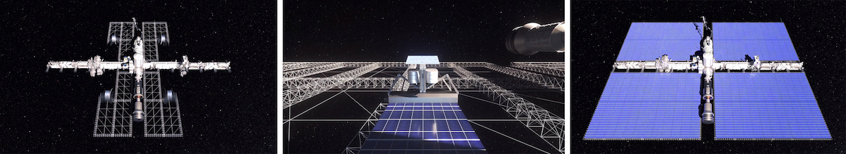Three photos of solar panels in space