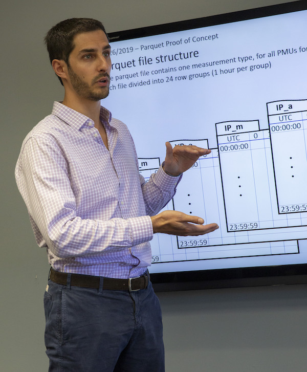 Electrical engineering doctoral student Andrea Pinceti gives a presentation