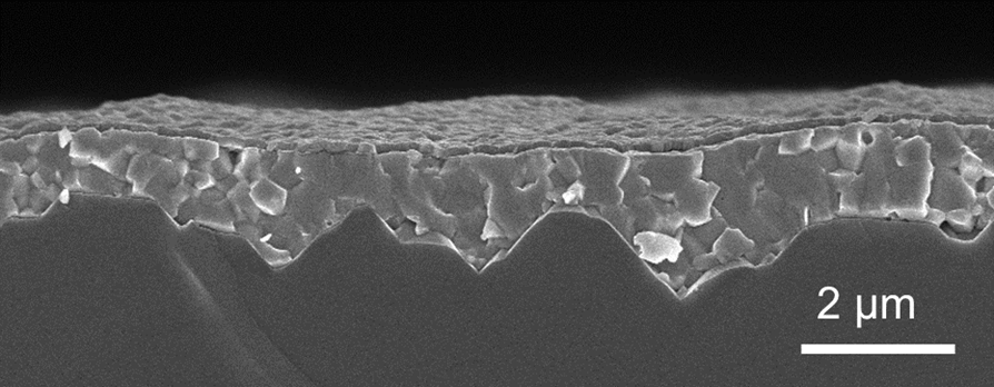 image of magnified material on a solar cell