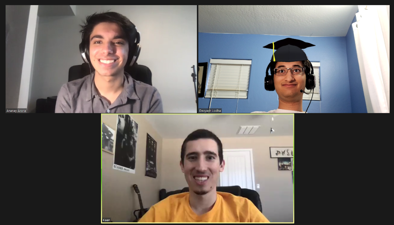 screen capture of three students during a video conference call