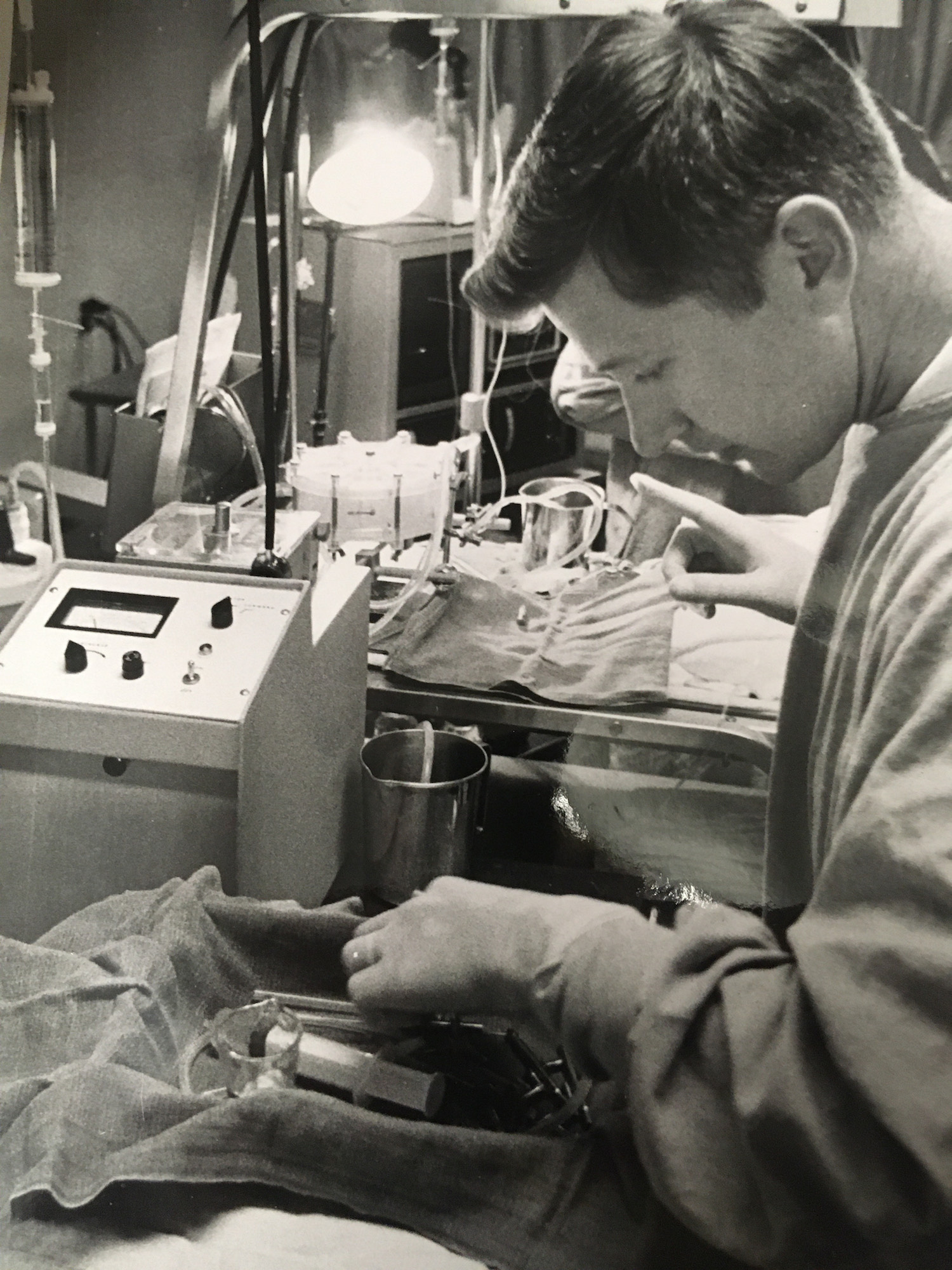 vintage photo of Keith Larsen working in lab