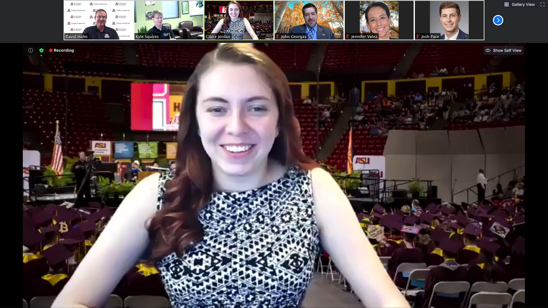 ASU graduate Claire Jordan moderates an online panel of Arizona university deans.