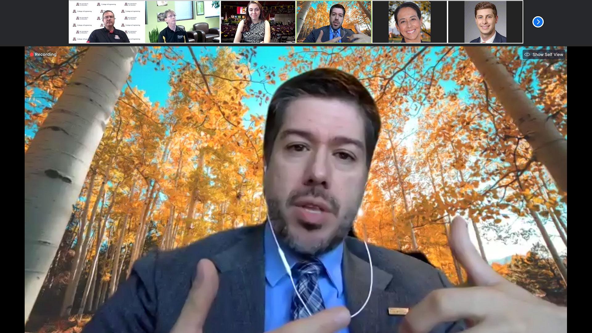 Northern Arizona University's John Georgas speaks during The Challenge online panel of Arizona university deans.