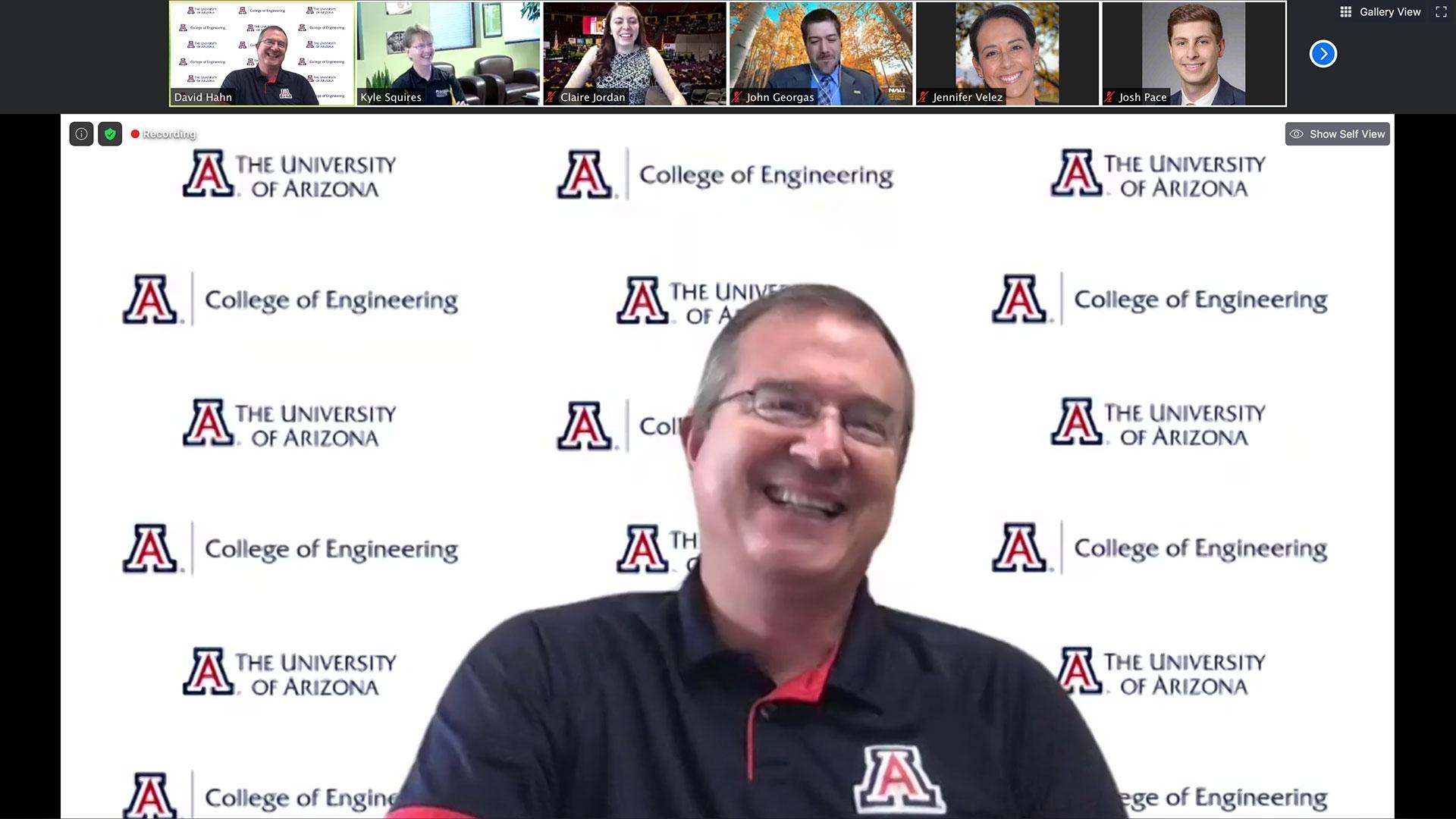 University of Arizona's David W. Hahn speaks during The Challenge online panel of Arizona university deans.