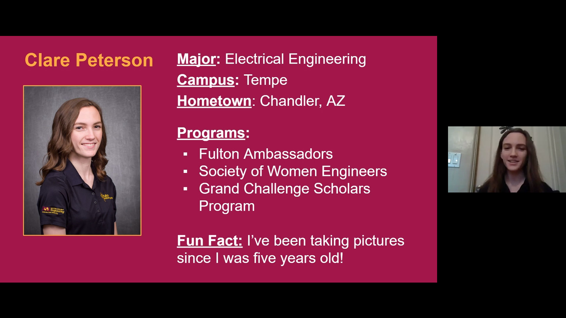 An ASU student talks about what it's like to be an engineering major to high school participants of The Challenge