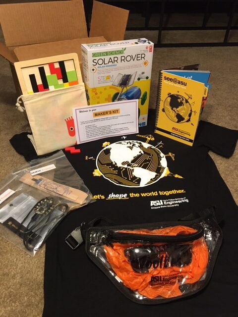 contents of a box showing supplies used during virtual SEE@ASU camp