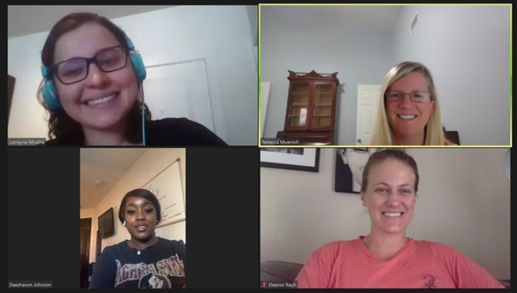 screen capture of a four person video meeting