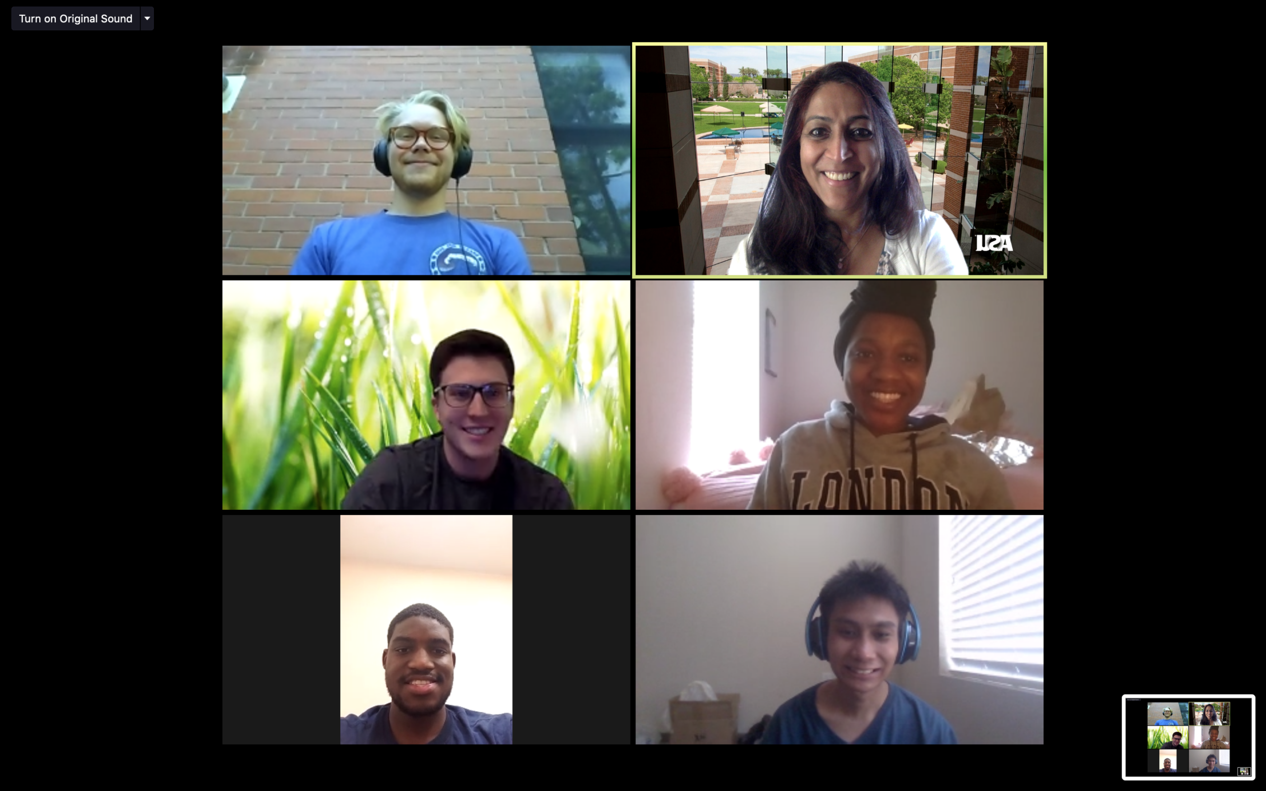 screen shot of a video meeting with six participants