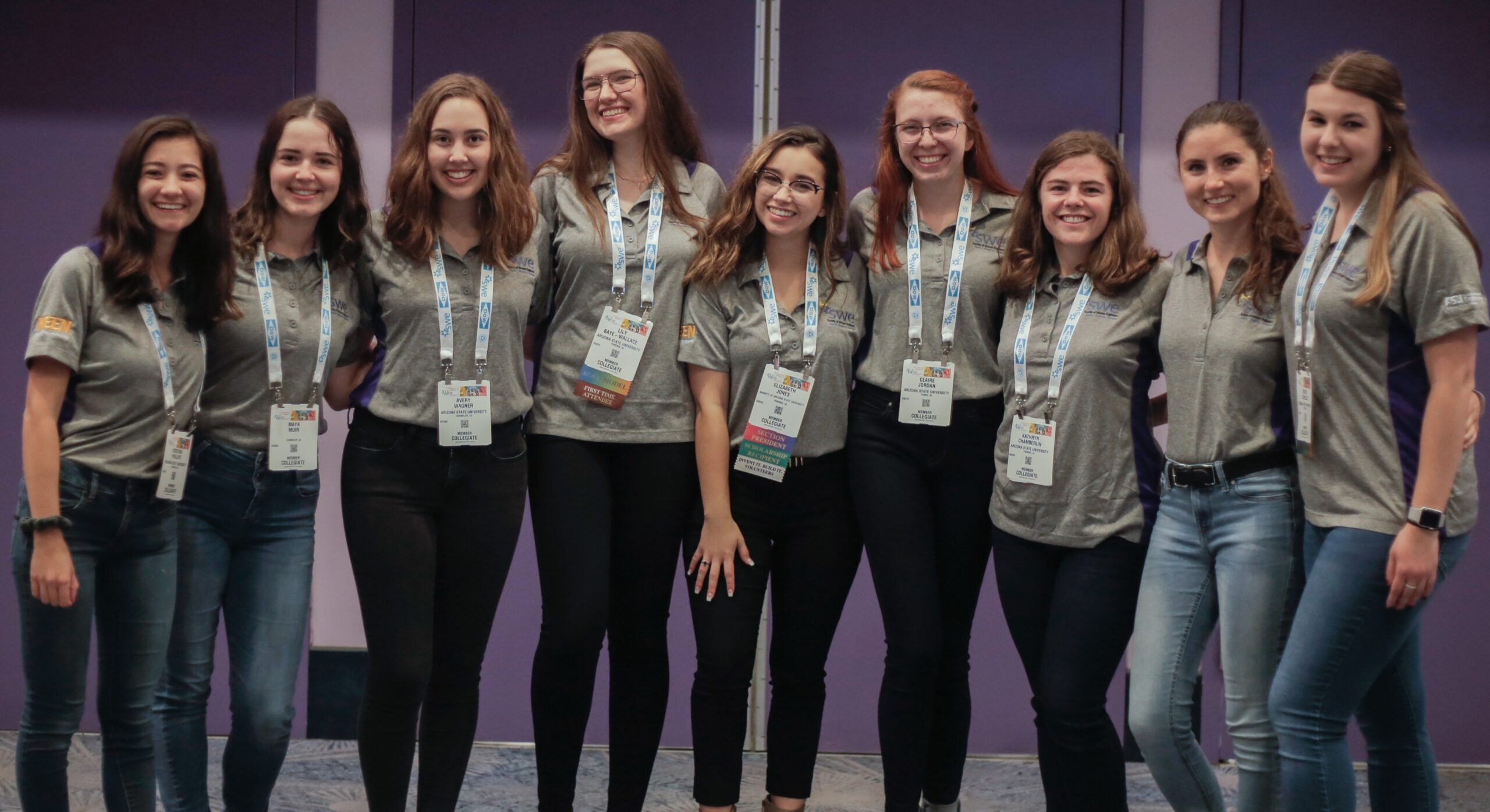 Elizabeth Jones (center) and members of the ASU SWE section leadership team the WE19 Society of Women Engineers conference.