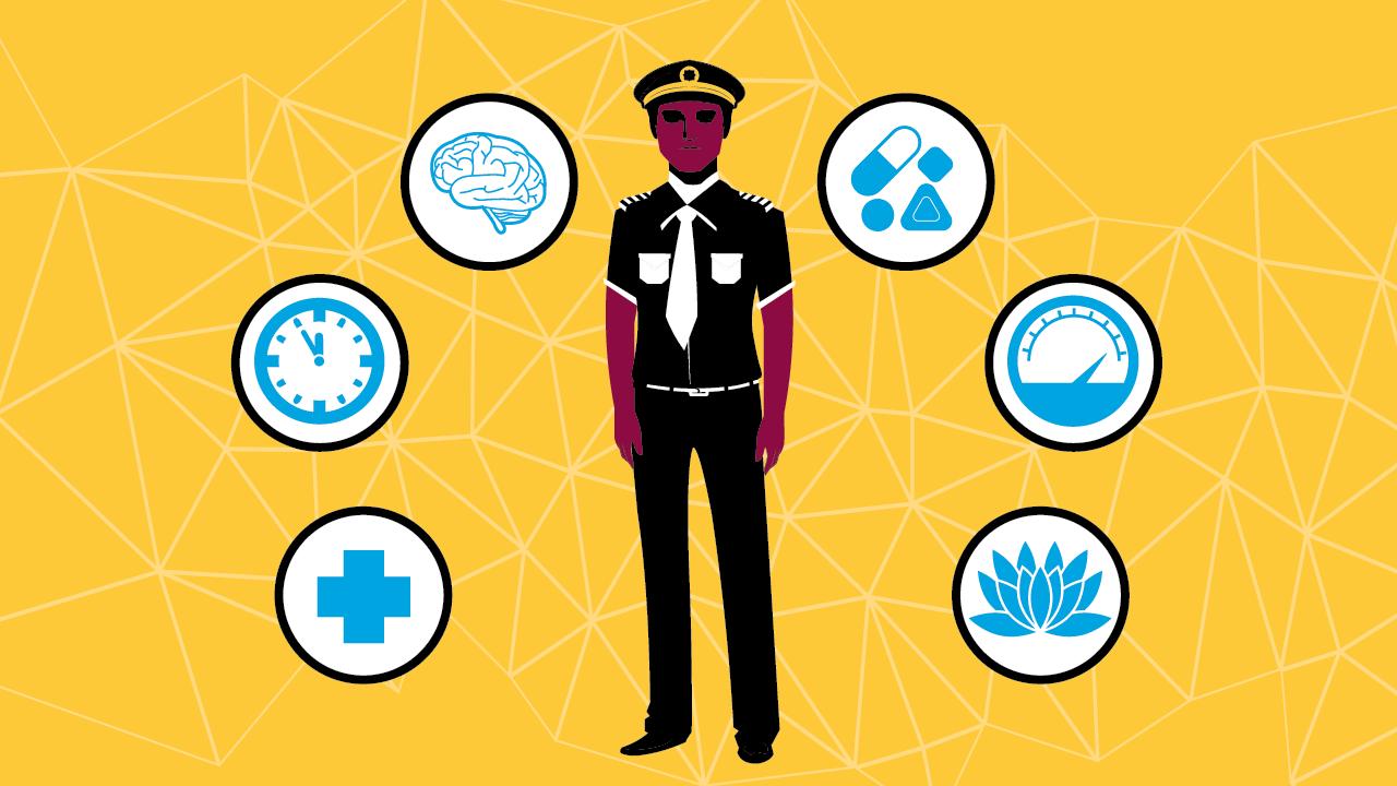 A graphic depicting a pilot and icons related to time, the brain, medication, meditation, performance and health.