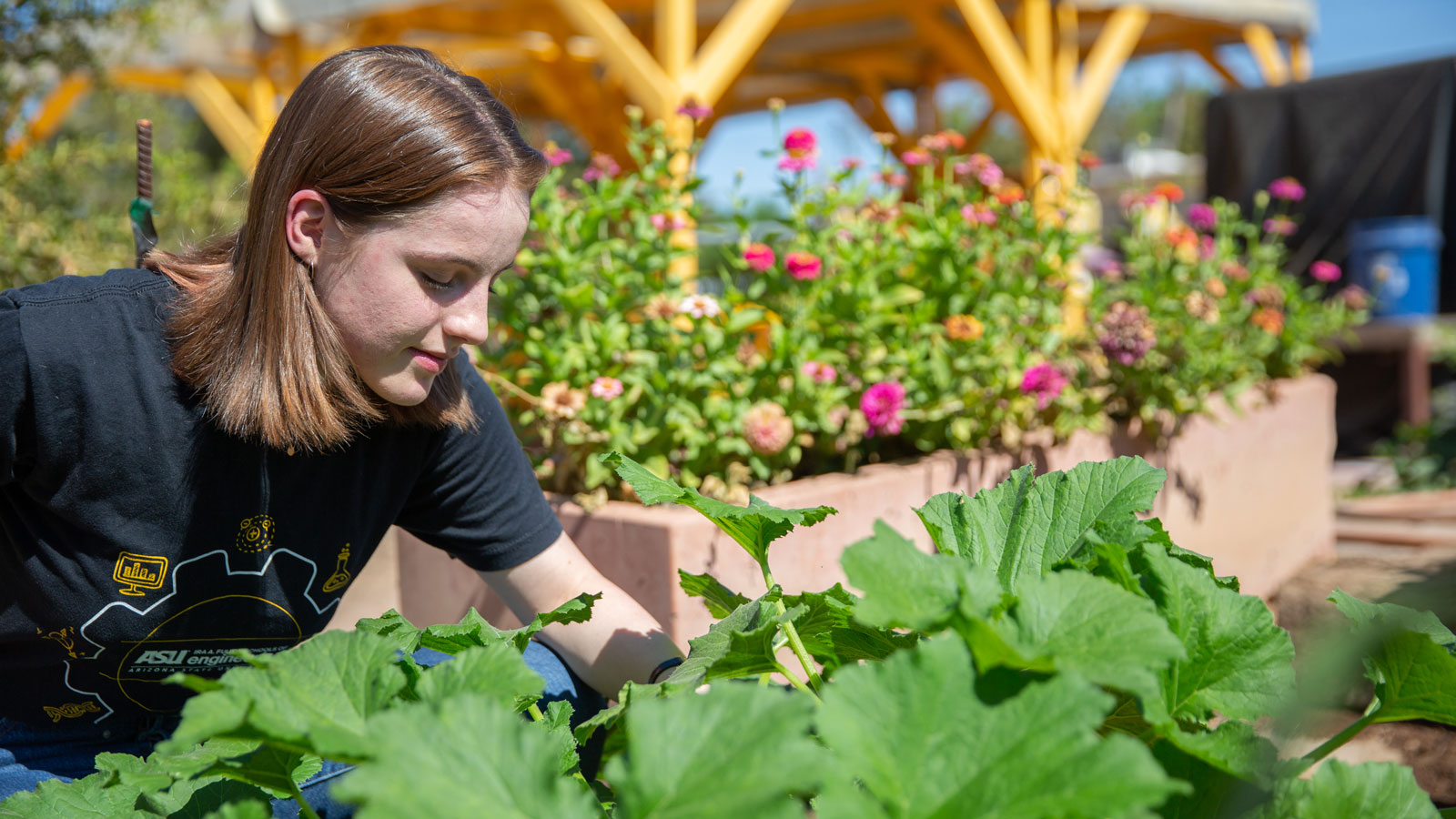 Emma Bonham works in the Keep Phoenix Beautiful Community Garden