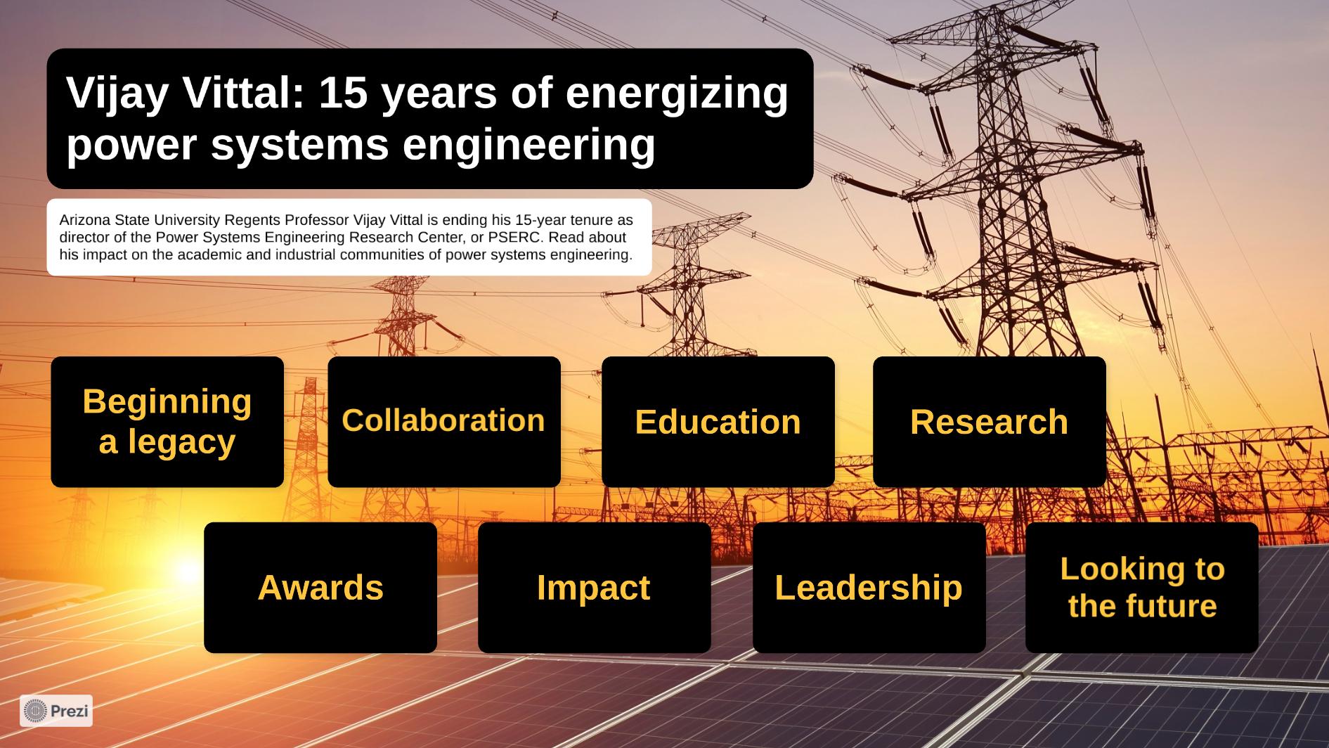 """Vijay Vittal: 15 years of energizing power systems engineering"" Prezi home screen."