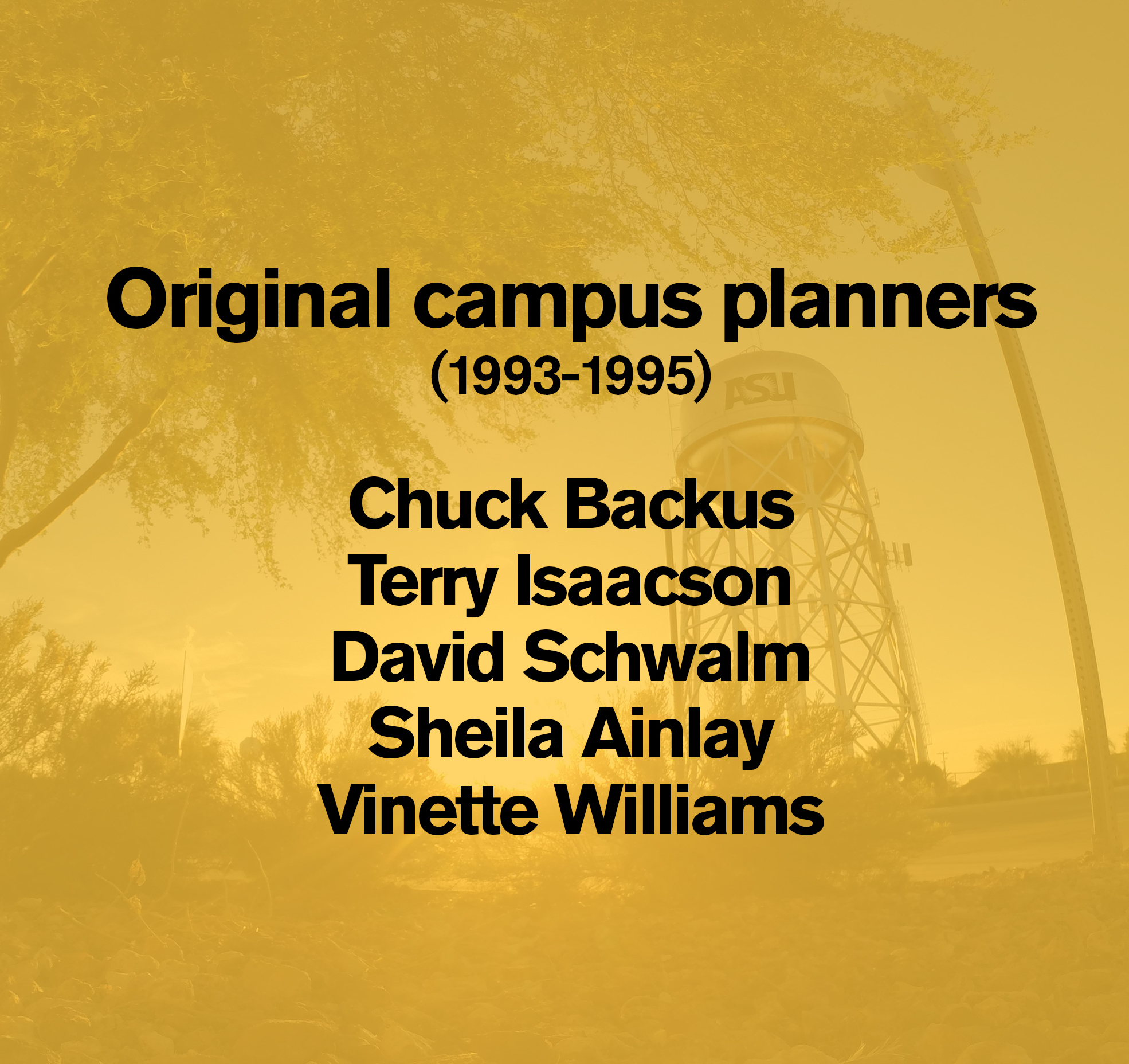 """Graphic with """"Original campus planners (1993-1995) Chuck Backus Terry Isaacson David Schwalm Sheila Ainlay Vinette Williams"""""""