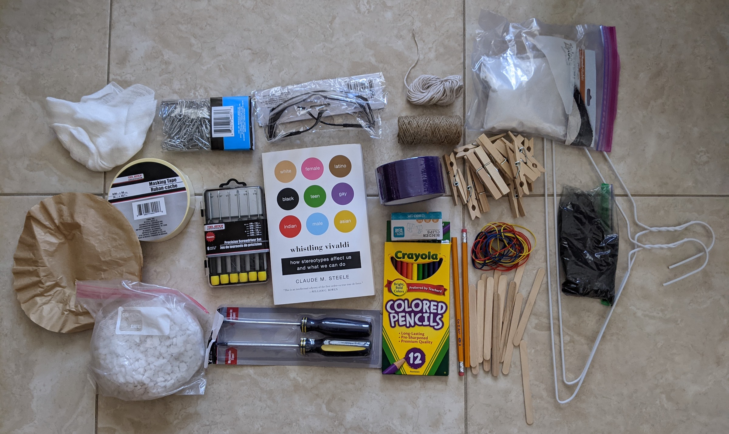 assorted materials from Engineering 4 Us All kit