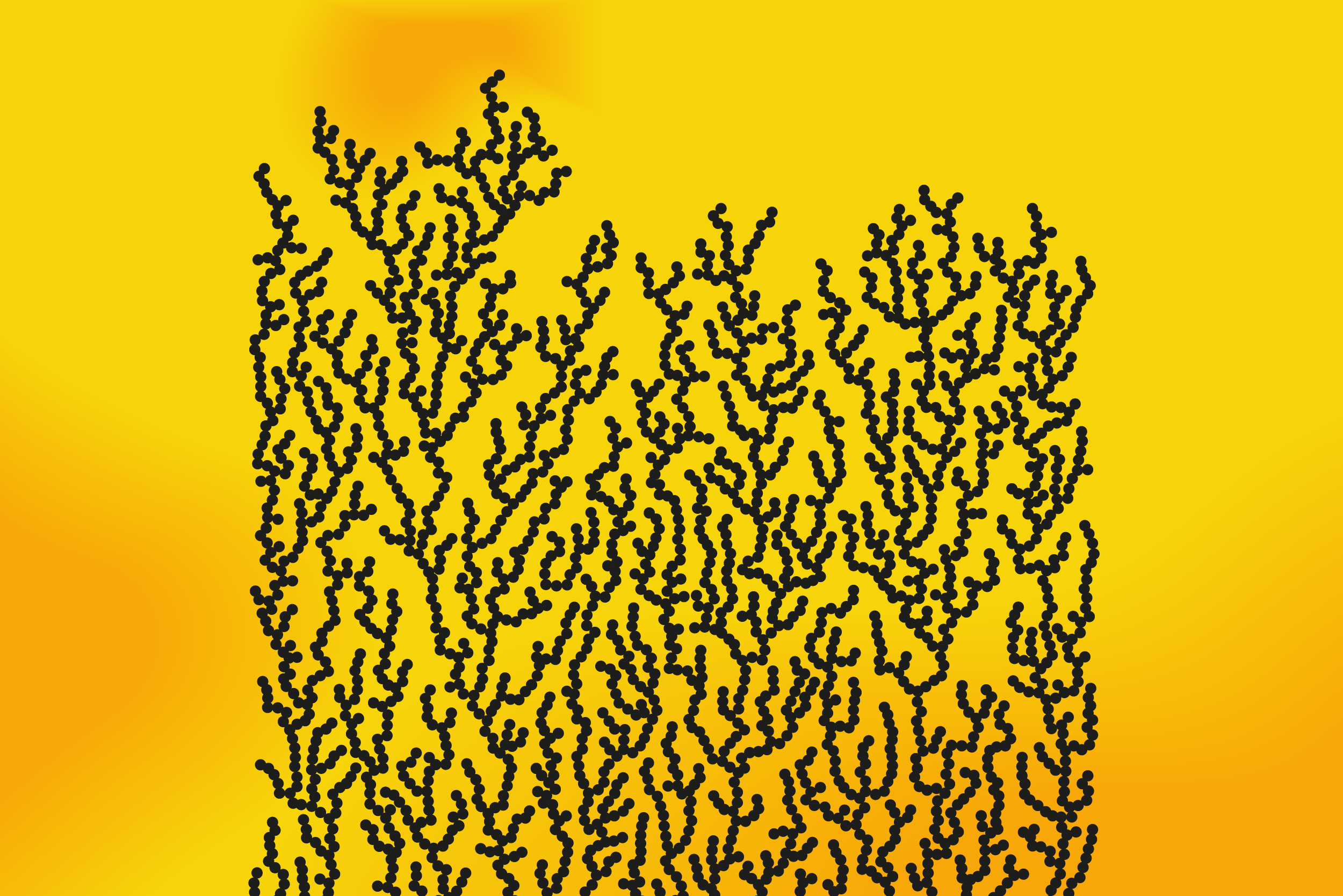 A graphic showing dendrite shapes on a yellow background