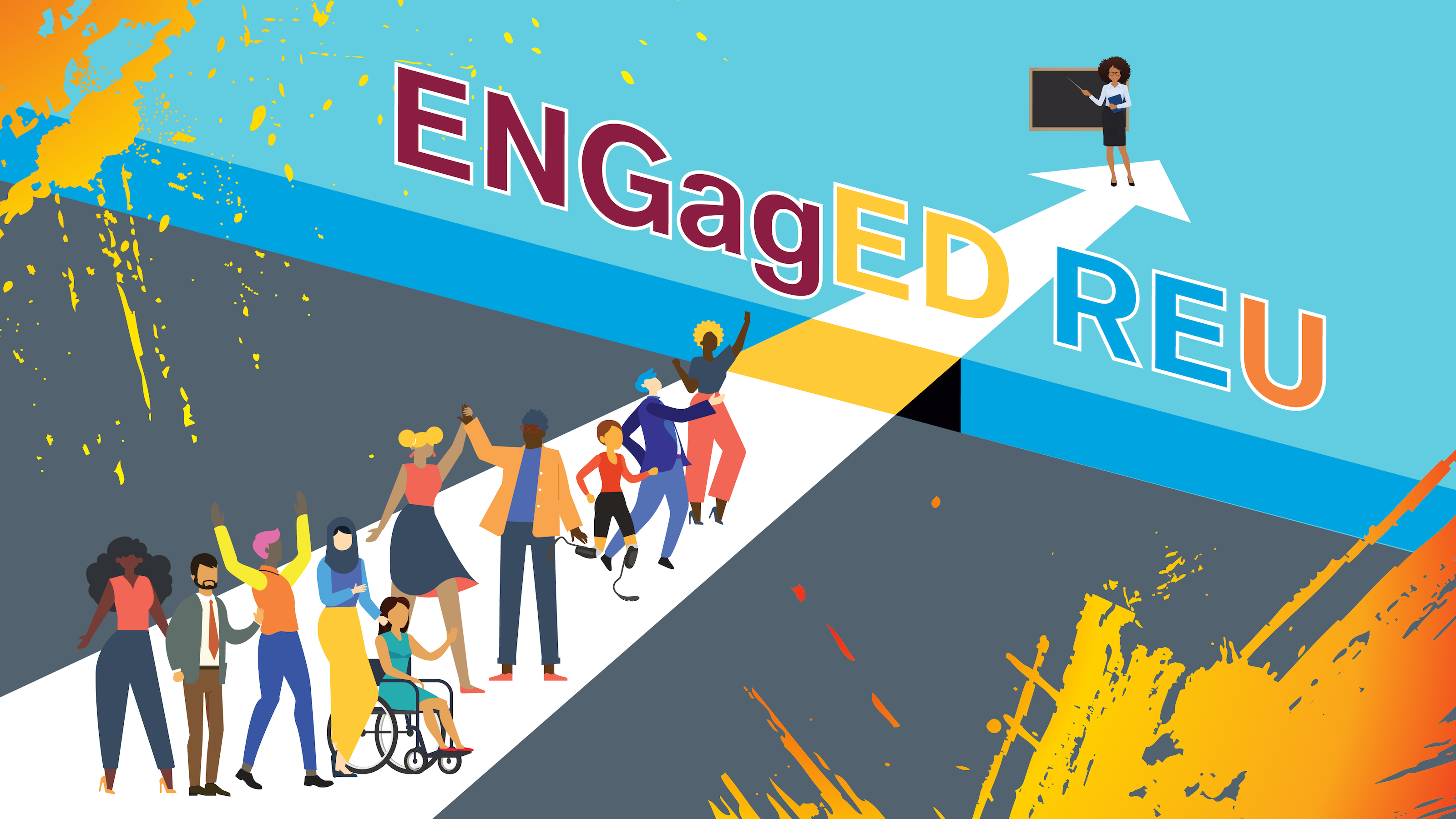 """graphic of people entering a building that says """"ENGagED REU"""""""