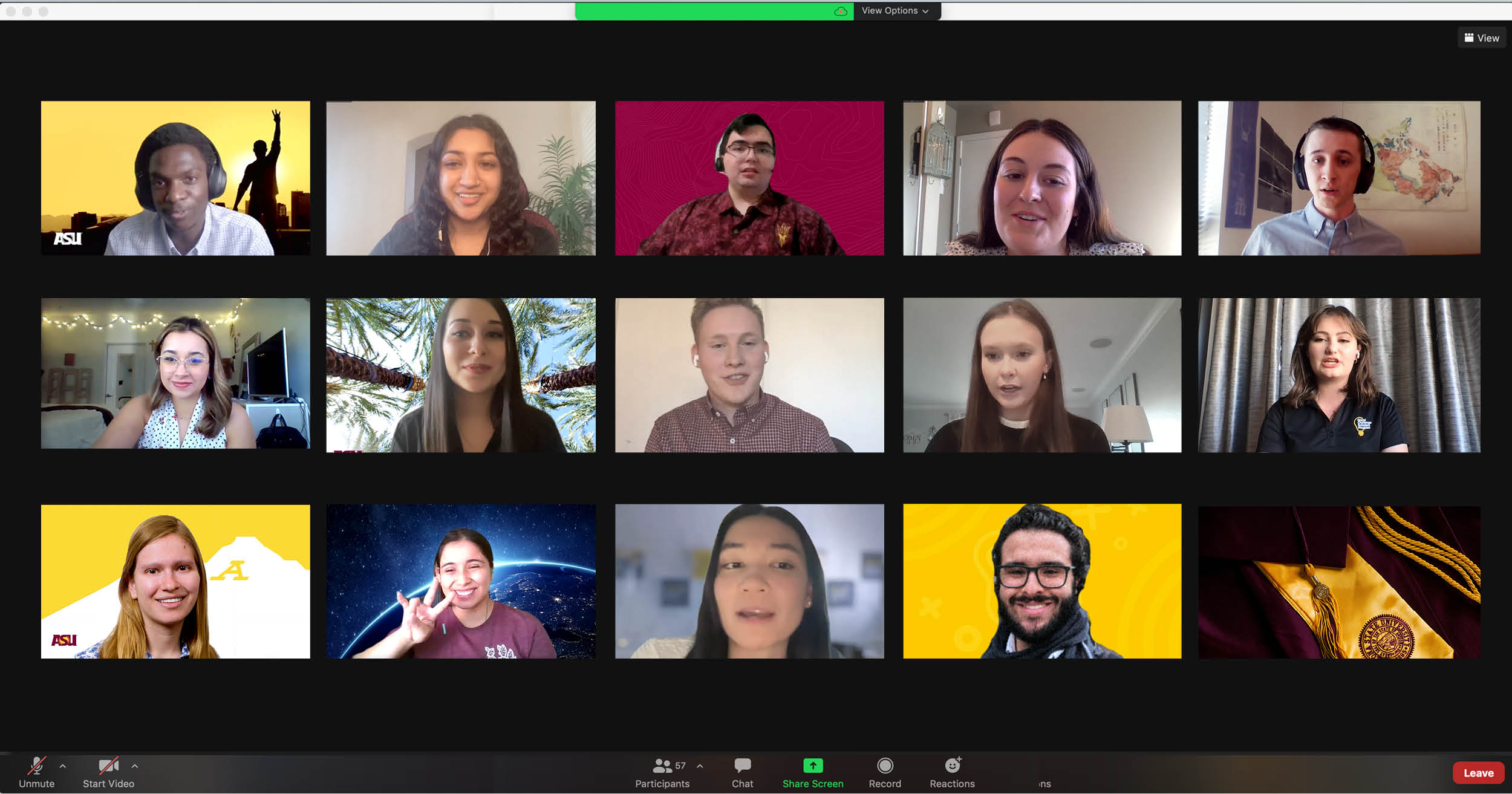A screenshot of a Zoom meeting with Fulton Schools engineering students in the Grand Challenges Scholars Program