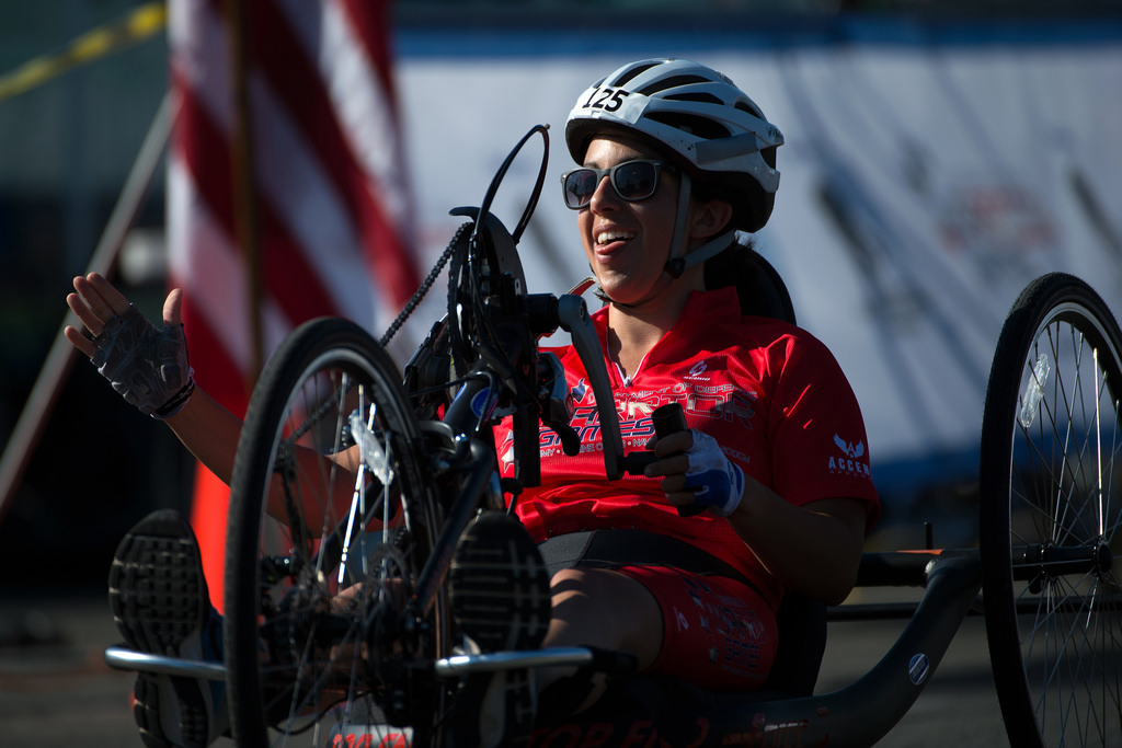 Nicole Haikalis rides a hand cycle in the 2016 Warrior Games.