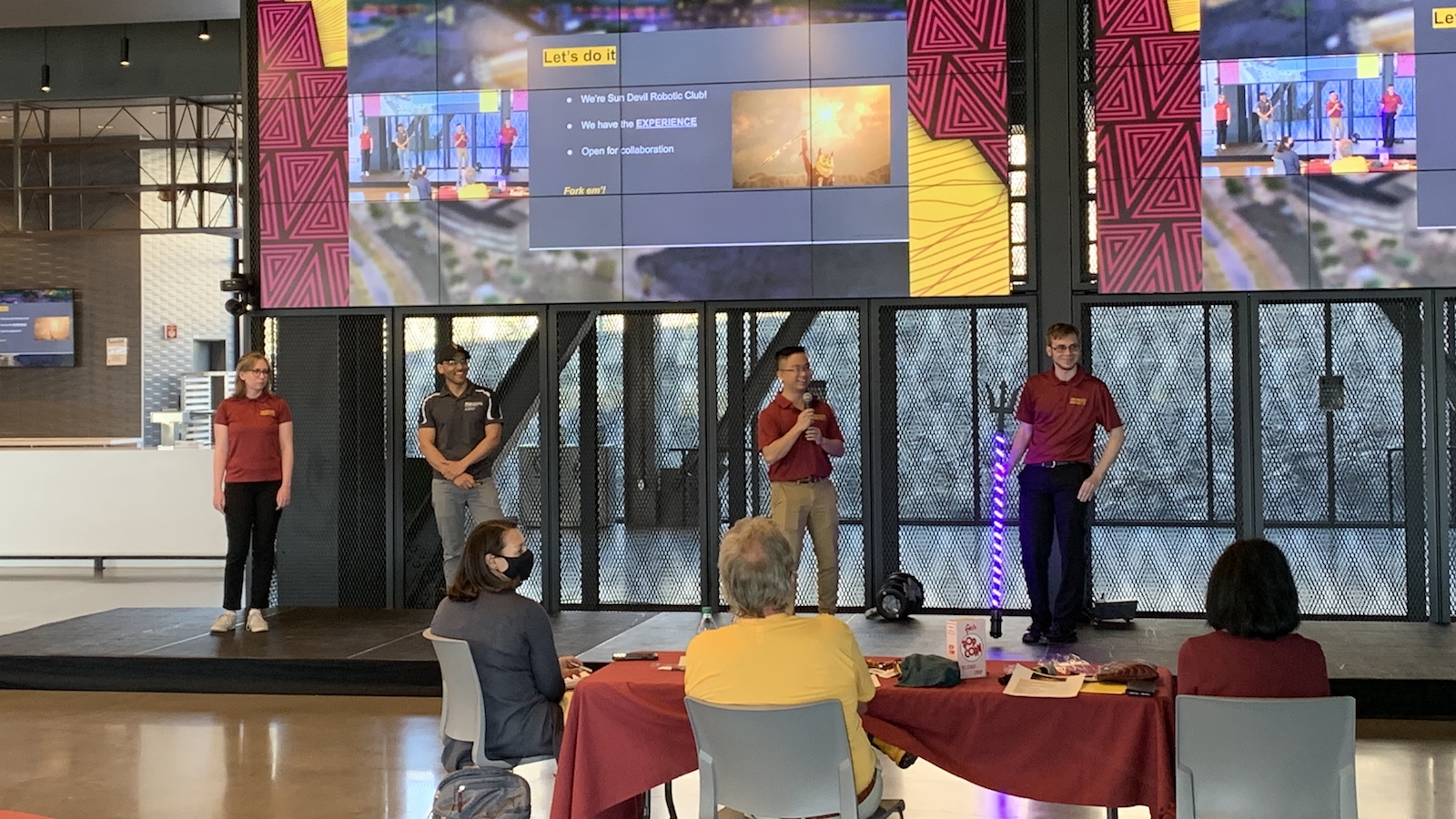 The Sparky's Inferno team presenting during Ignite Sparky