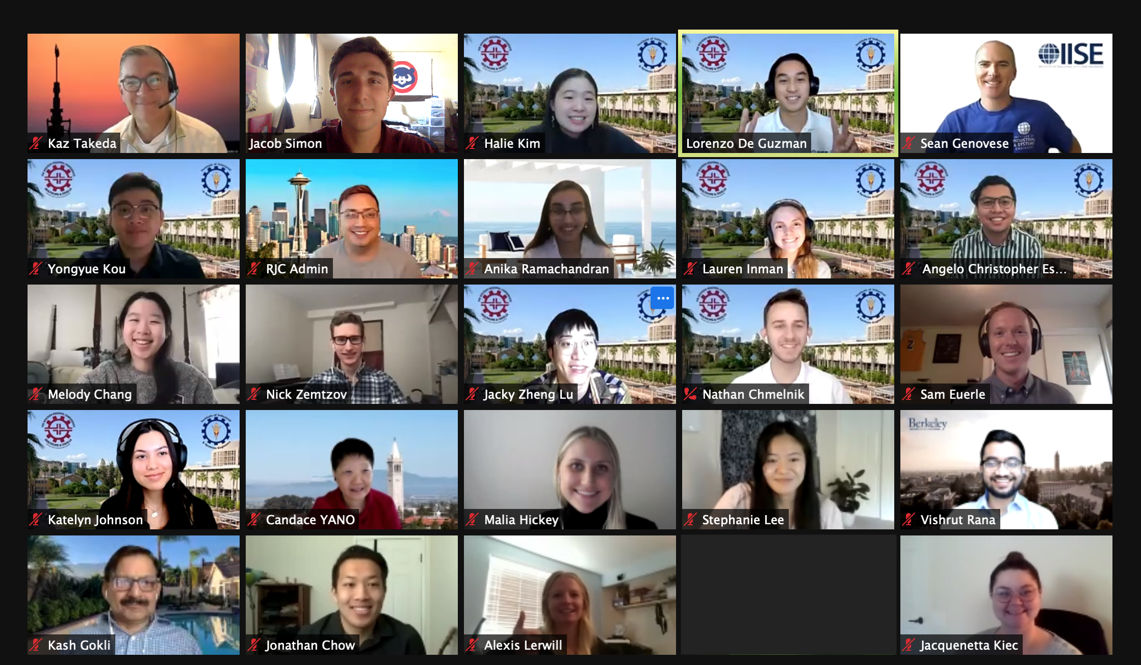 A screenshot of a Zoom gathering of the IISE Confernece hosted by ASU