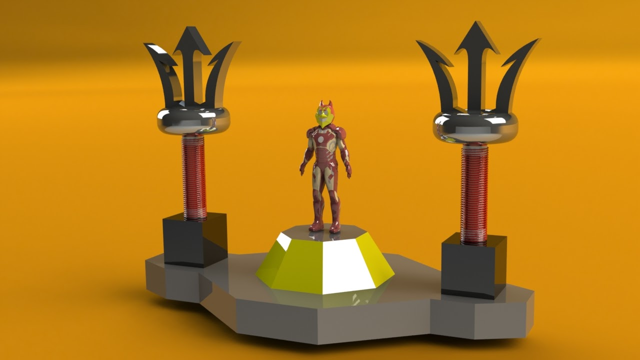 a mock up up Sparky the Sun Devil between a pair of Tesla coils shaped like pitchforks