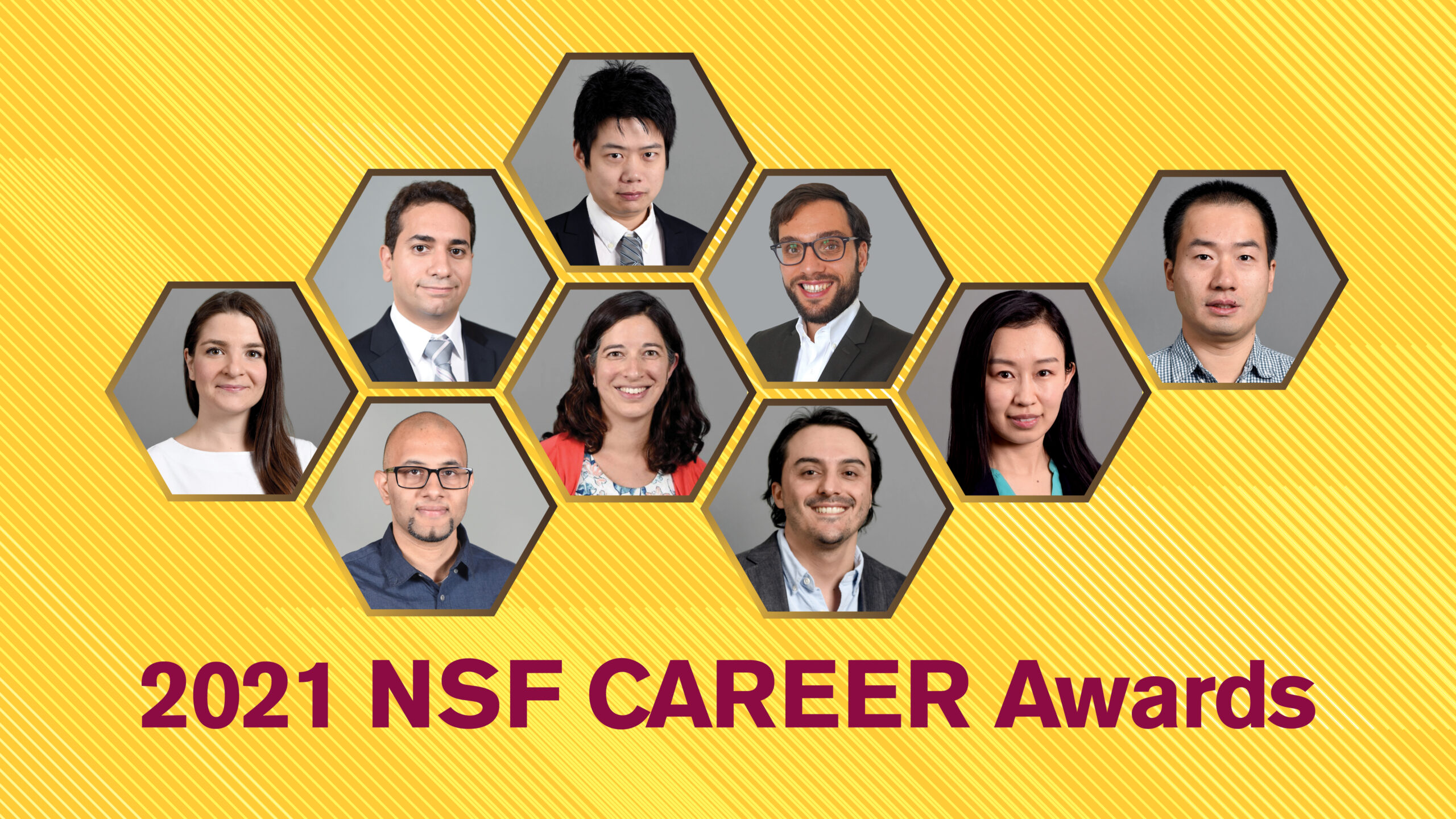graphic with nine photos of faculty members and 2021 NSF CAREER Awards