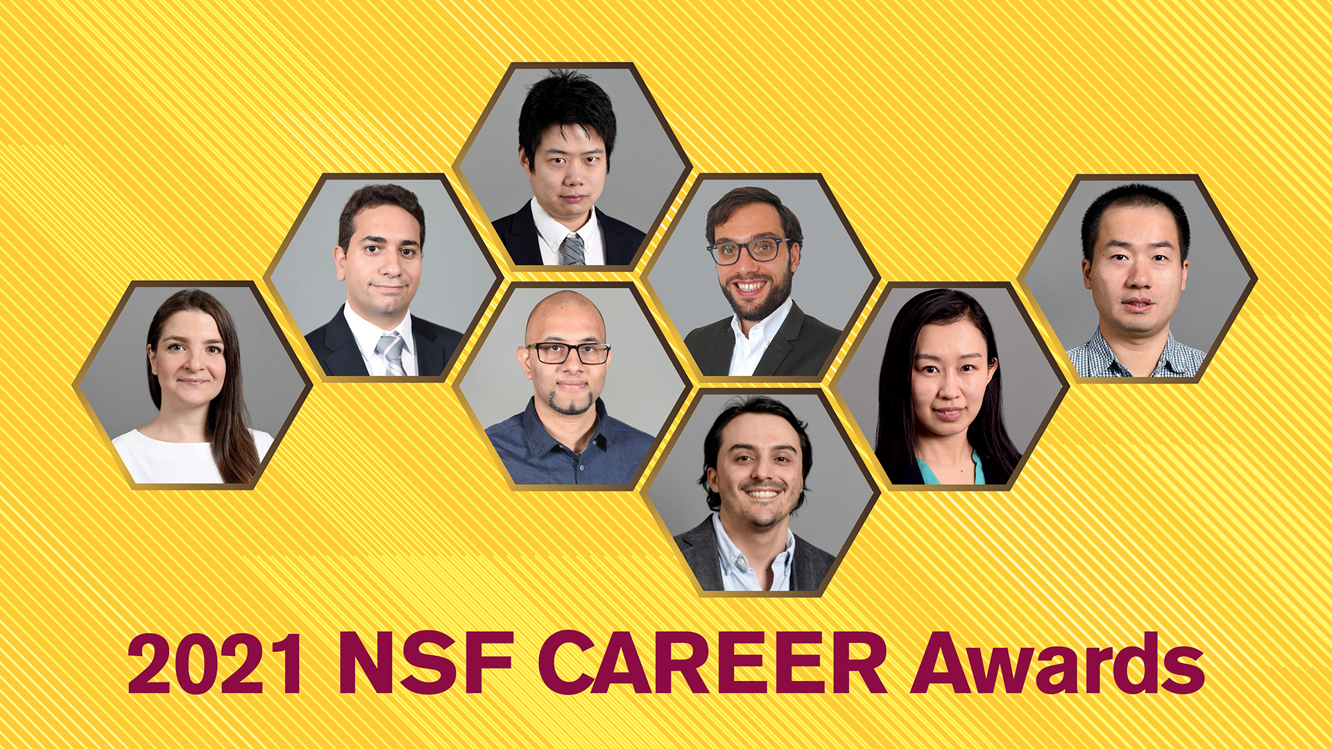 graphic with eight photos of faculty members and 2021 NSF CAREER Awards