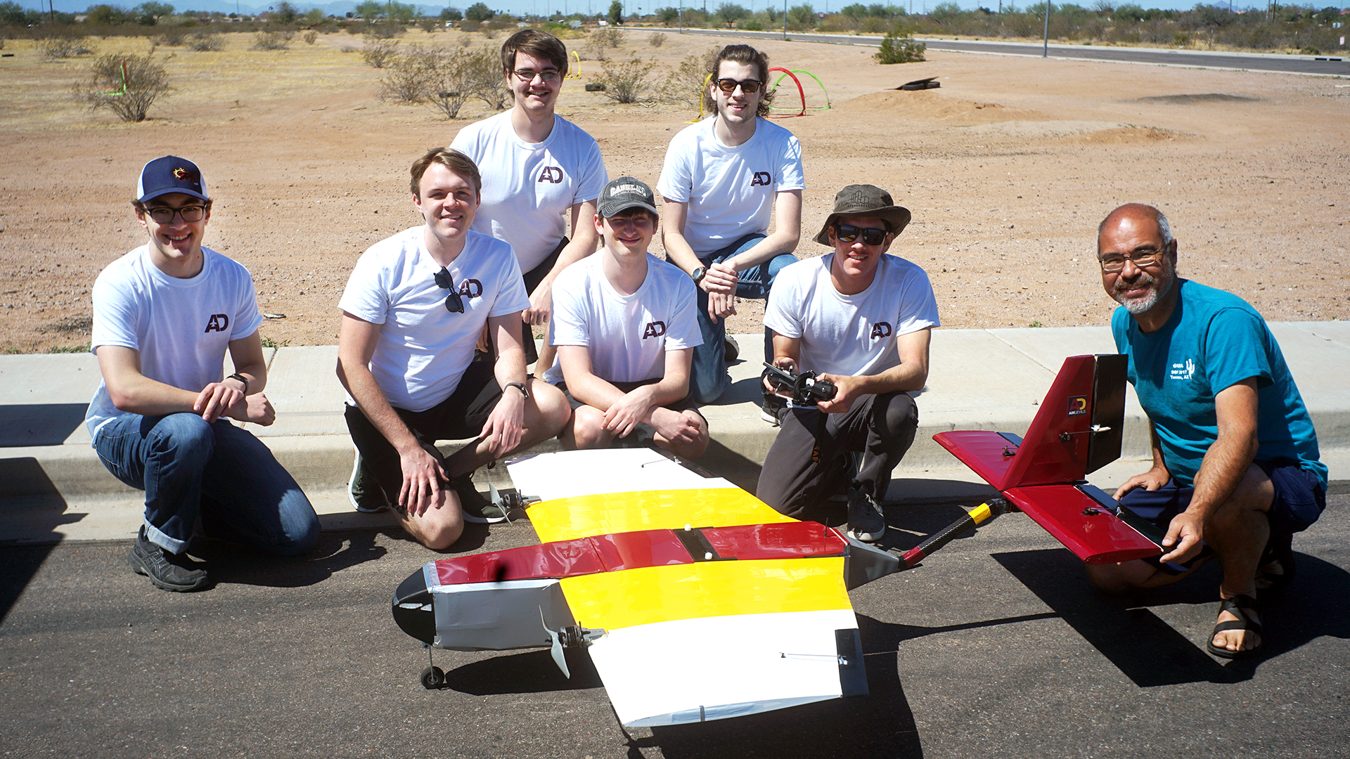 Air Devils team members (left to right): Students Zachary Norris, Max Stauffer, Daniel Kosednar, Kevin O'Brian, Jack Griffin, Evan Draganchuk and Professor of Practice Timothy Takashi.