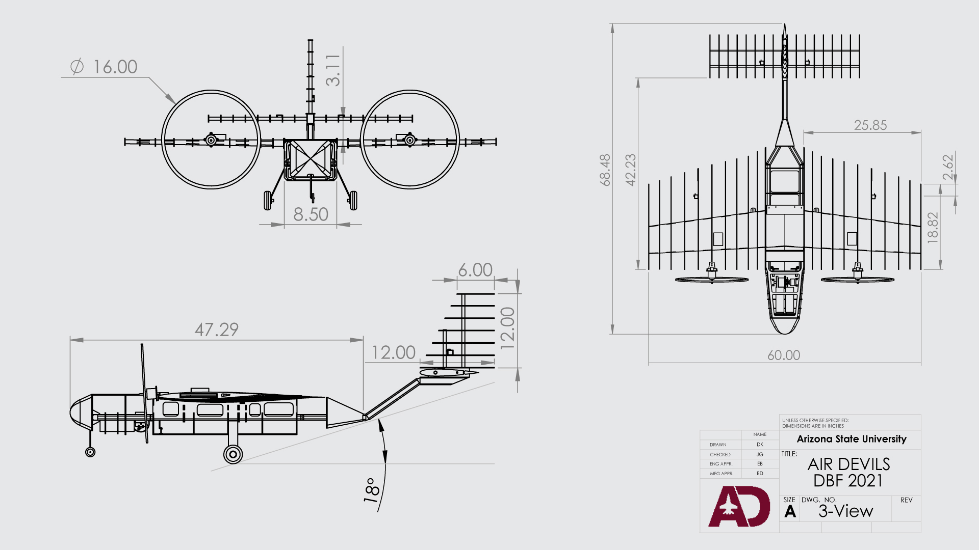 Line drawings of the Duct Tape Overcast aircraft designed by the Air Devils team for the American Institute of Aeronautics and Astronautics Design/Build/Fly competition