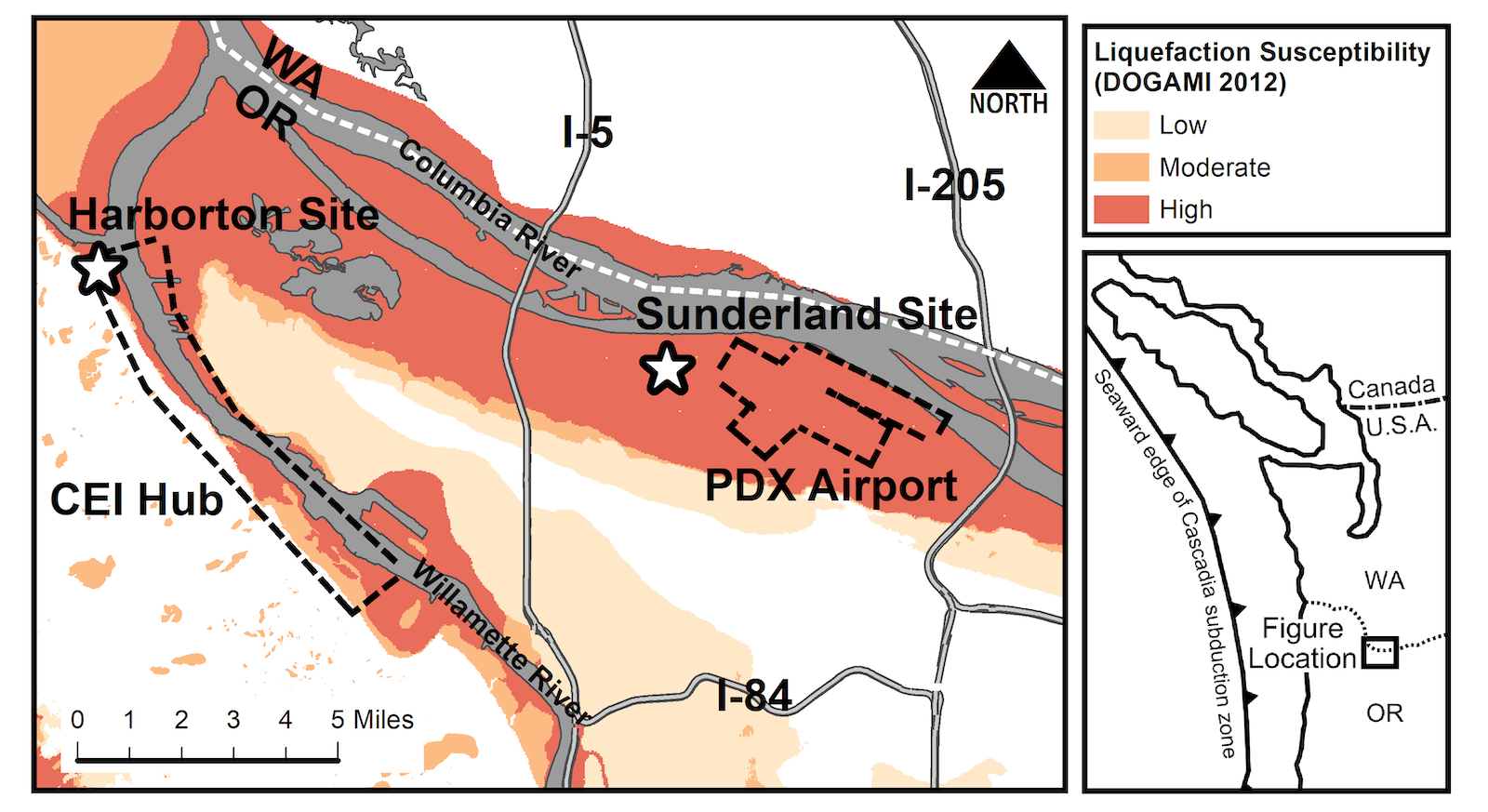 A map of the Portland, Oregon, area highlighting locations of two sites for the research to develop techniques for reducing soil damage as a result of earthquakes