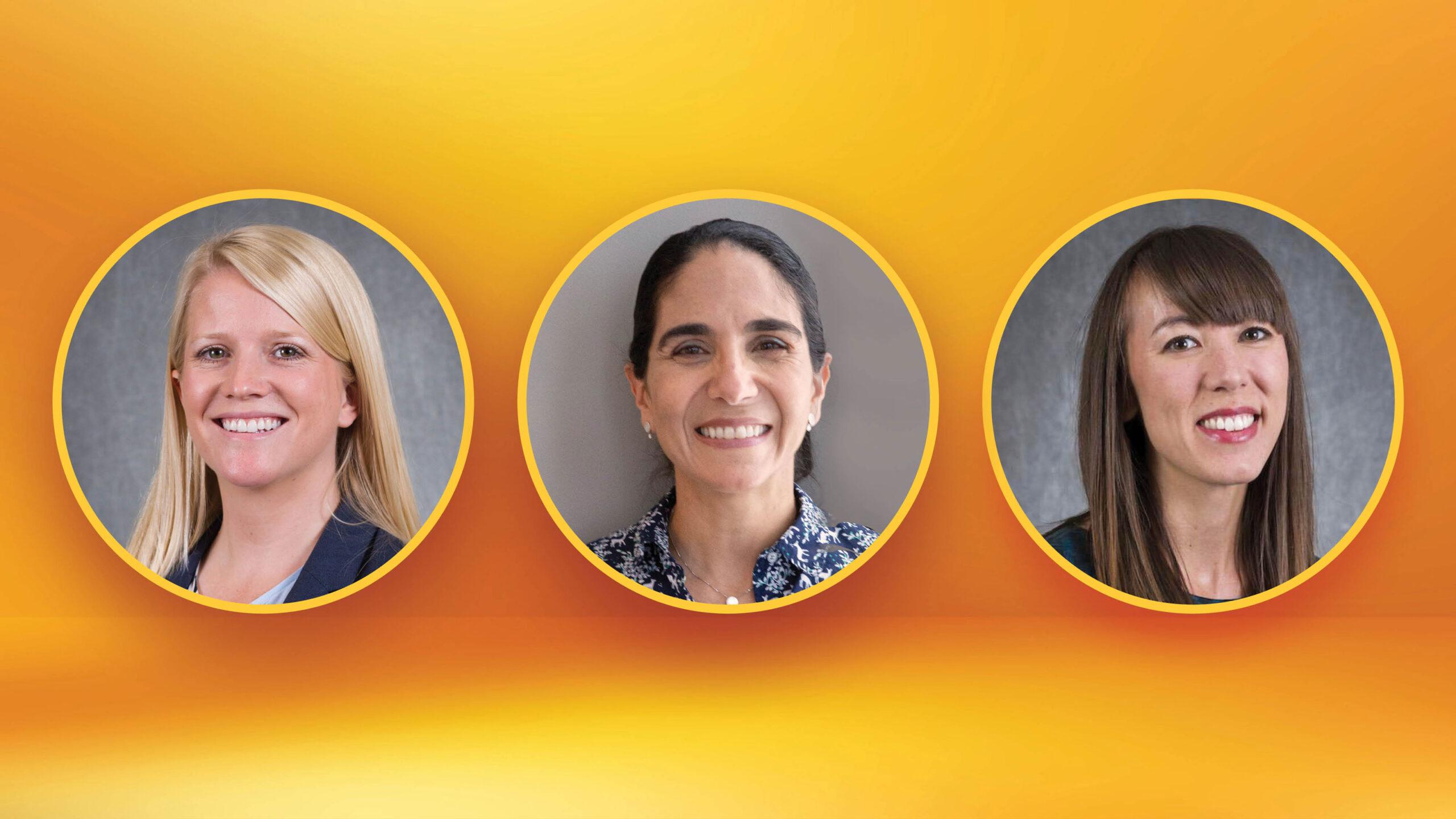 headshots of Rebecca Muenich, Andréa Richa and Sydney Schaefer