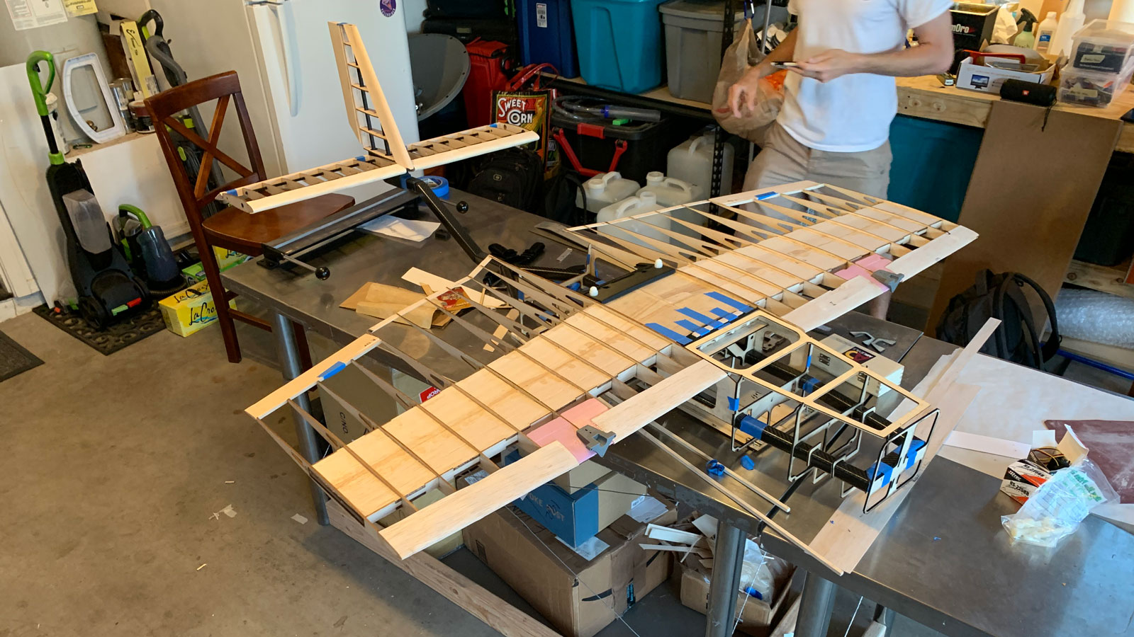 The Duct Tape Overcast aircraft's wooden frame was created using laser cutting techniques.