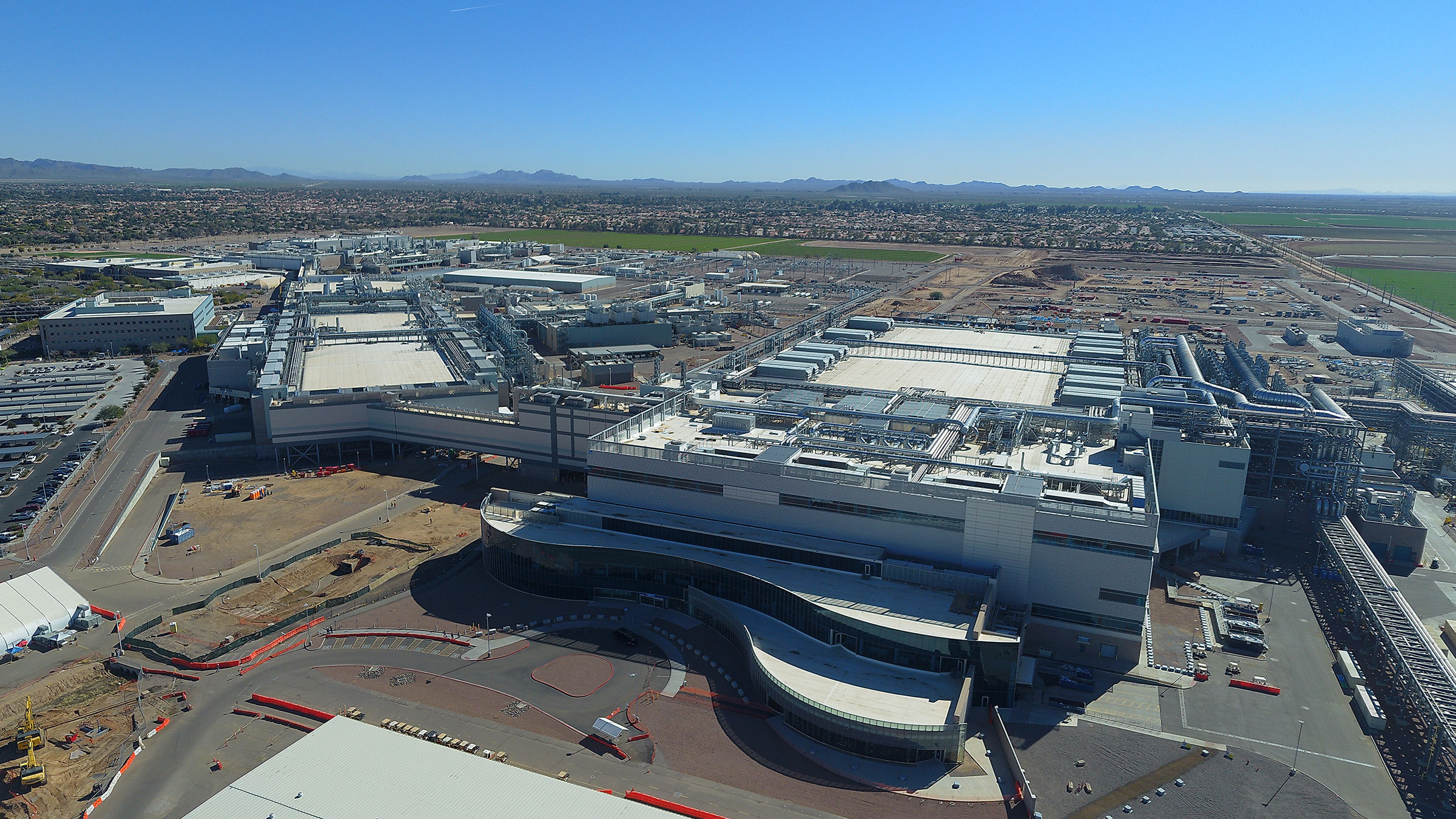 Aerial view of Intel fab plant