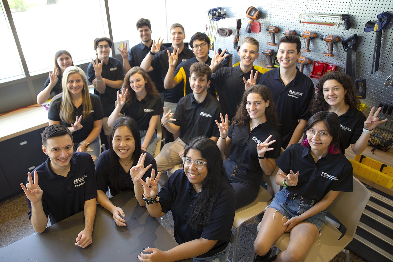 Group of peer mentor students