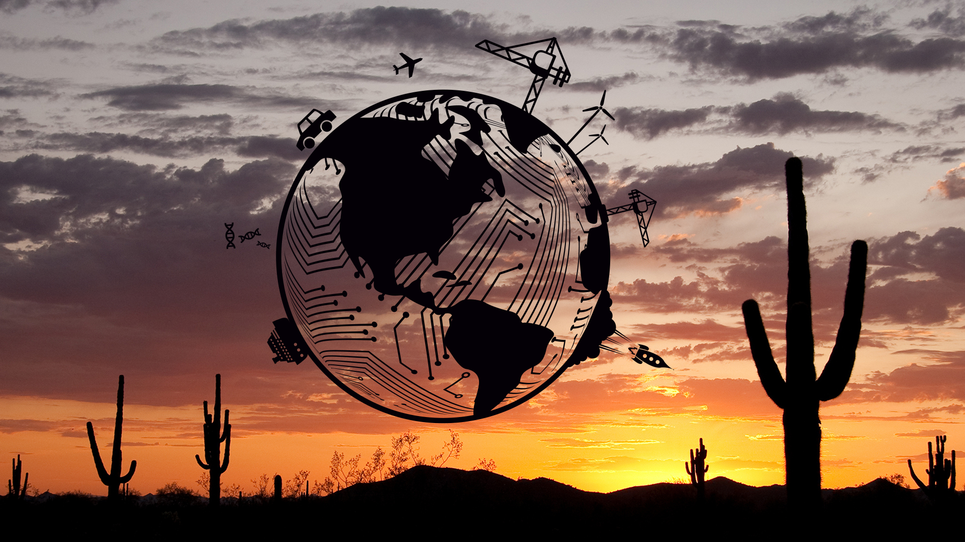 A graphic of a globe featuring different engineering applications superimposed on a photo of a desert sunset.